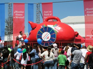 "Giant Mexican Piggy Bank built on Hydraulics for publicity kick-off event for Bank of America ""Safe Send ""tour"