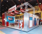 Stand for Trade show in England Corrugated metal and red Formica