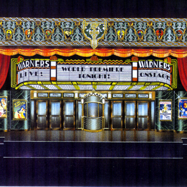 Design of a Movie Marquee with looney tune characters painted in the proscenium for 6 flags show